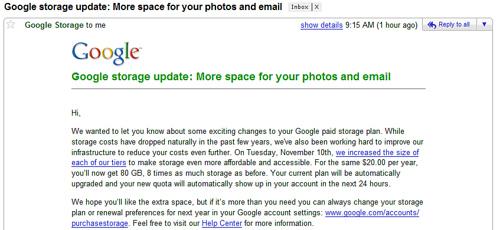 Googleストレージの契約更新をしました