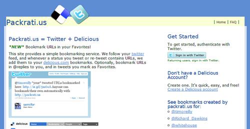 TwitterでツイートしたURLをdeliciousブックマークする「Packrati.us」