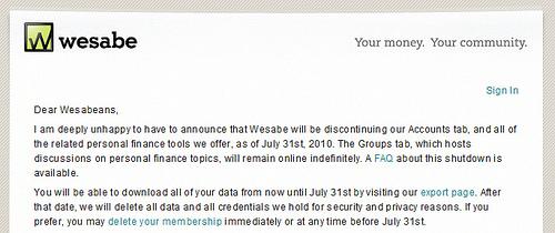 オンライン家計簿のWesabeが閉鎖に