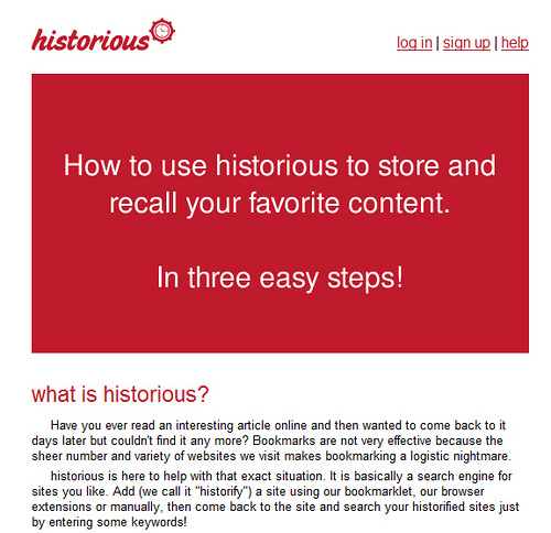 ブックマークを検索して抽出する「historious」