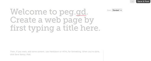 シンプルなページが作成できるPeg.gd
