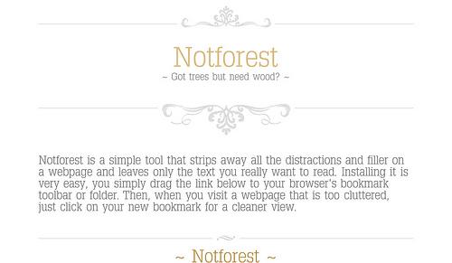 シンプルなページに仕立ててくれるブックマークレット「Notforest」