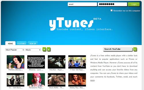 iTunesスキンのYouTubeプレーヤー「yTunes」