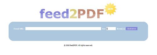 RSSフィードの内容をPDFに変換する「feed2PDF」
