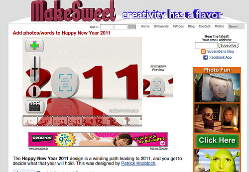 2011年のロゴに画像を入れることができる「New Year 2011 animation」