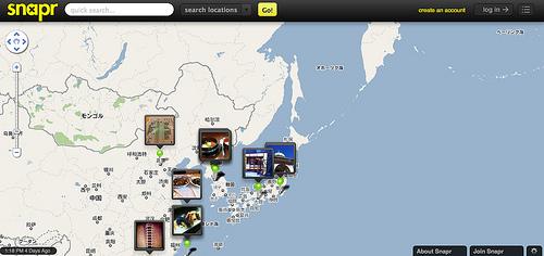 マップ上に写真を投稿するSnapr