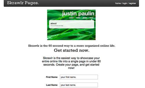 About.meのような自己紹介ページが作成できる「Skrawlr」