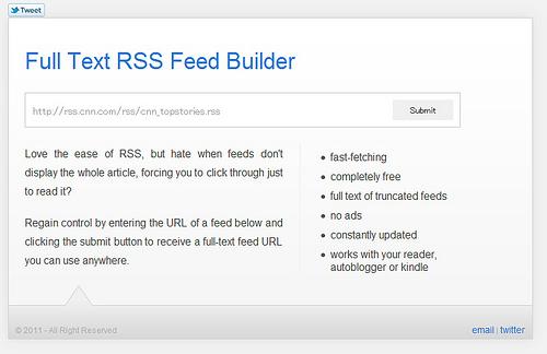 全文配信のRSSフィードを生成する「Full Text RSS Feed」