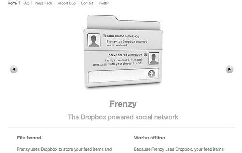 Dropboxを利用したソーシャルネットワーク「Frenzy」