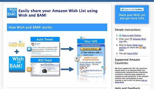 Amazonのほしい物リストに登録するとTwitterに流してくれる「Wish and BAM」