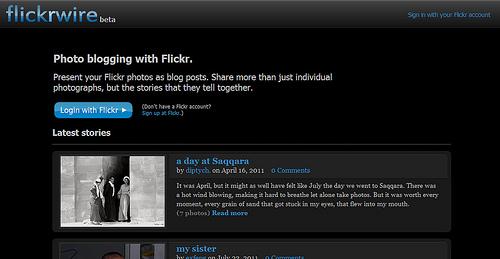 Flickrのアカウントでブログが作成できる「Flickrwire」