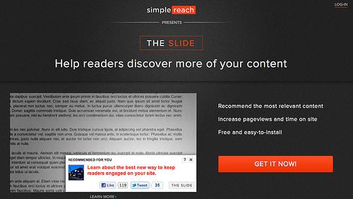 スライドでおすすめの記事を紹介する「SimpleReach」