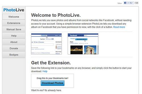 ブックマークレットでFacebookのアルバムがダウンロードできる「Photolive」