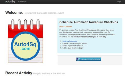 自動でチェックインすることができる「Auto4Sq」