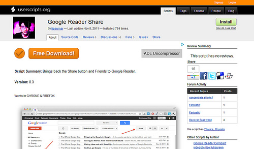 Google Readerに共有ボタンを設置するユーザースクリプト「Google Reader Share」