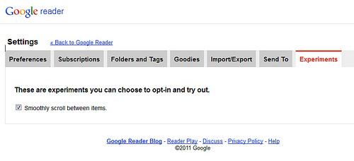 Google Readerのスクロールをスムーズに