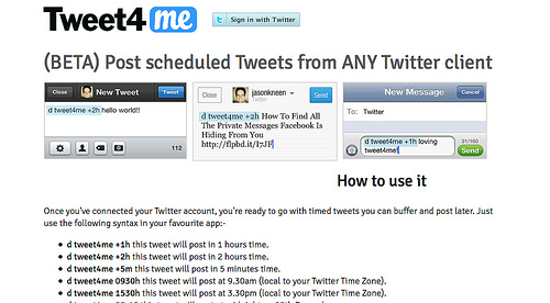 Tweet4me, Scheduled, Buffered, Delayed Tweets from any Twitter client