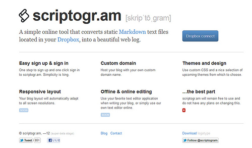マークダウン記法でDropbox上にブログが開設できる「Scriptogr.am」