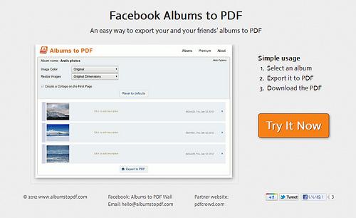 FacebookのアルバムをPDFでダウンロードできる「Facebook Albums to PDF」