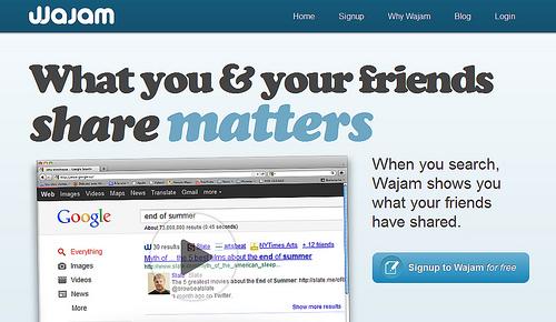 TwitterやFacebookでの友人のおすすめ順に検索結果を表示する「Wajam」