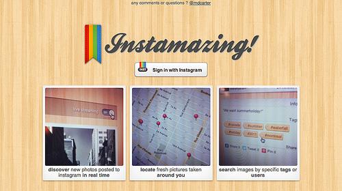 付近に投稿されたInstagramの写真が一覧できる「Instamazing」