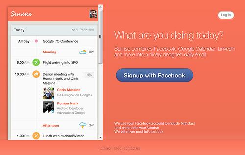 今日行われるGoogleカレンダーやFacebookの予定を通知してくれる「Sunrise」