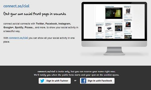 TwitterやFacebookのタイムラインからPinterest風のページを作成する「Connect.so/cial」
