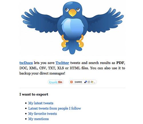 いろいろなファイル形式でツイートがダウンロードできる「twDocs」