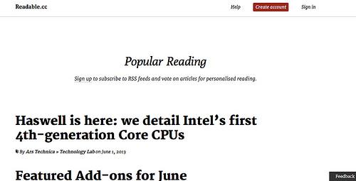 白と黒を基調としたシンプルなRSSリーダー「Readable.cc」