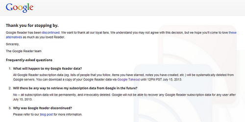 Google Readerからの最後のメッセージ