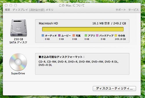 Macbookのハードディスクがいっぱいになっていた