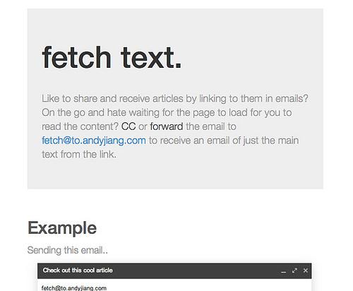 メールでURLを送るとそのページのテキストを返信してくる「fetch text」