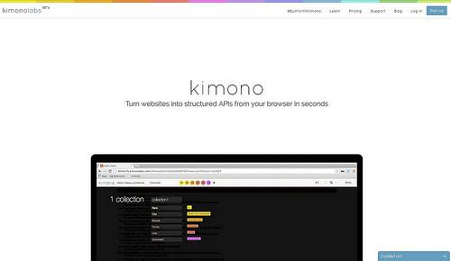 サイトから情報を抜き出してAPIで返してくれる「Kimono」
