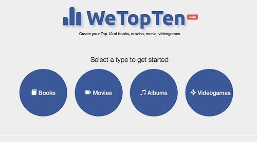 サクサクと本、音楽などのおすすめリストが作成できる「WeTopTen」