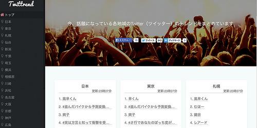 日本各地のTwitterのトレンドが分かる「Twittrend」