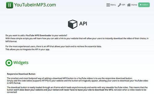 YouTubeからMP3ファイルを直接ダウンロードできるボタンが設置できる「YouTubeInMP3.com」